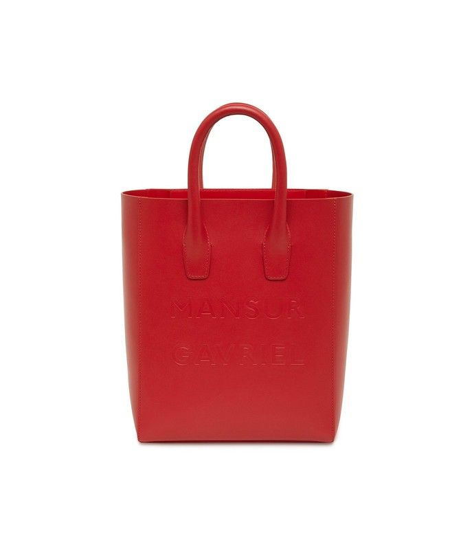 calf logo mini ns tote in flamma