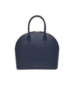 navy calf top handle rounded bag