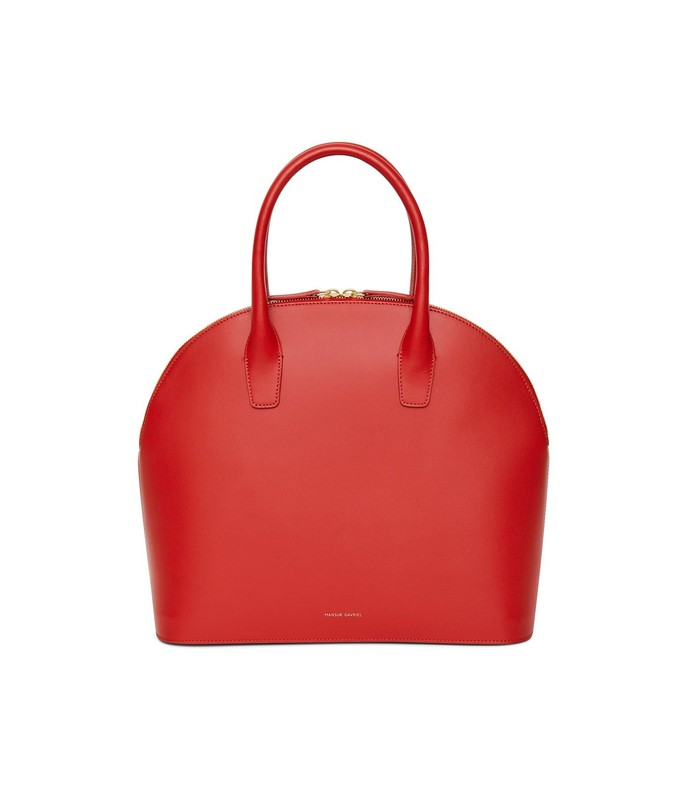 calf top handle rounded bag in flamma