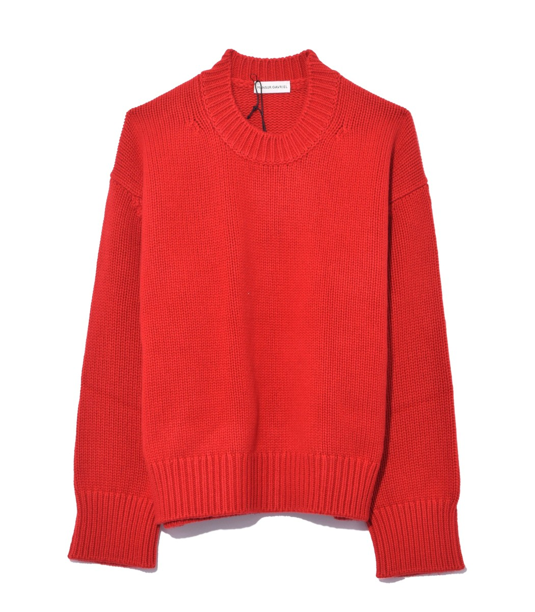 Red Flamma Cashmere Oversized Crewneck Sweater