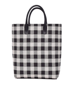 black/white checker north south tote bag