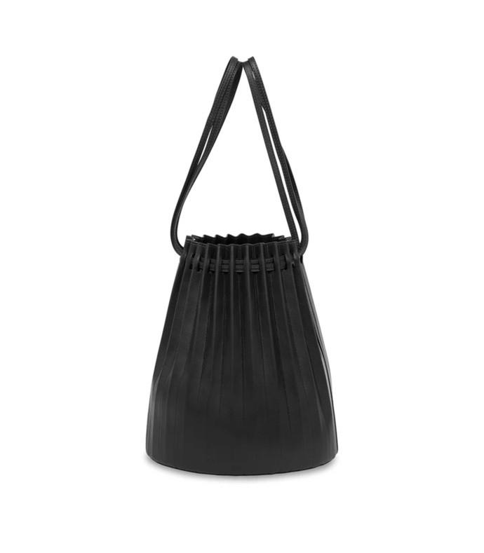 lambskin pleated bucket bag in black