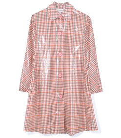 laminated cotton check coat in pink multi
