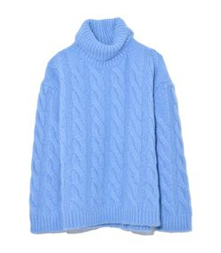 oversized cable sweater in sky blue