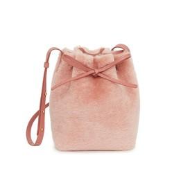 shearling mini bucket bag in blush