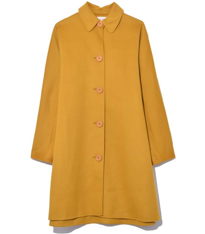 mustard wool cashmere blend elegant coat