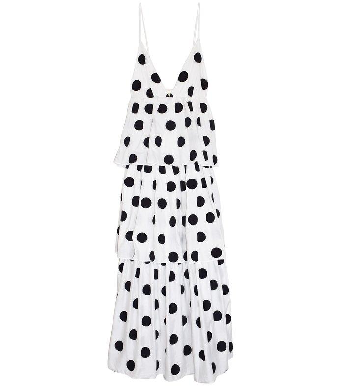 bari dress in white/black