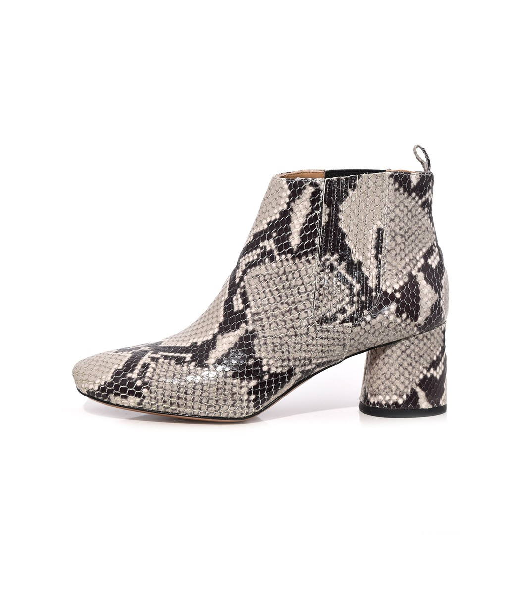 WOMEN'S ROCKET SNAKE-EMBOSSED LEATHER ROUND BLOCK HEEL CHELSEA BOOTIES