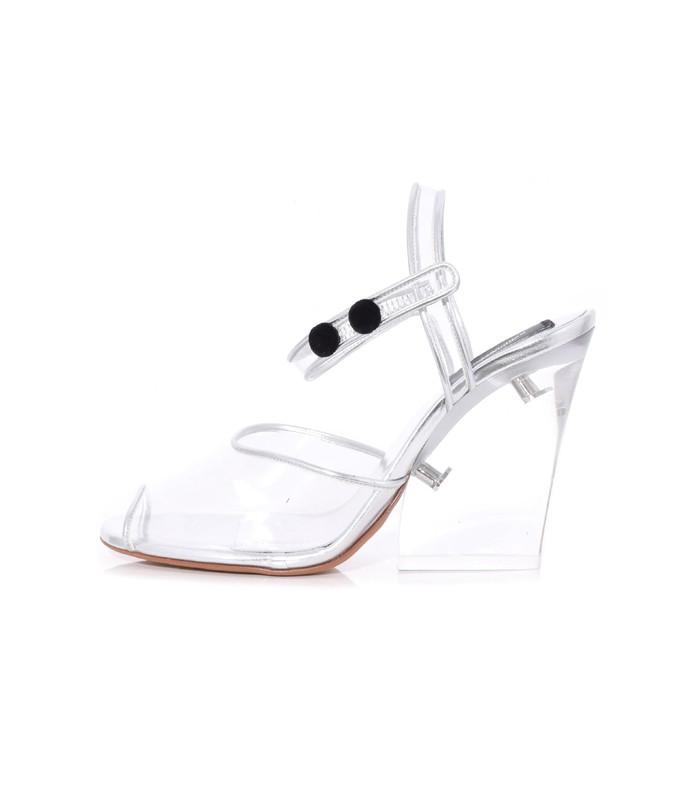 wedge sandal with plexiglass heel in clear