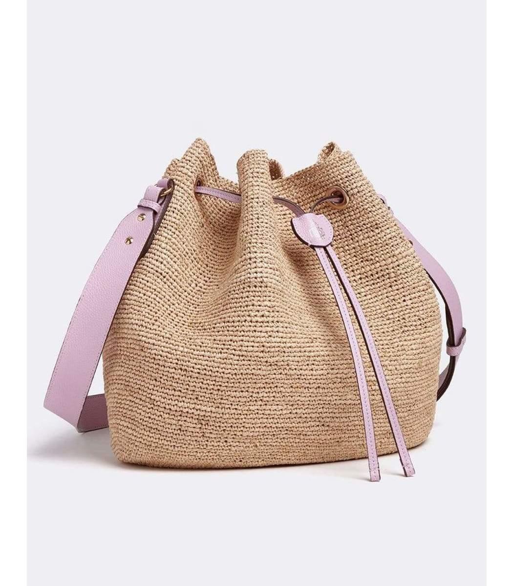 Mark Cross Leathers Joni Raffia & Leather Bucket Bag - Tumbled Grain Lilac