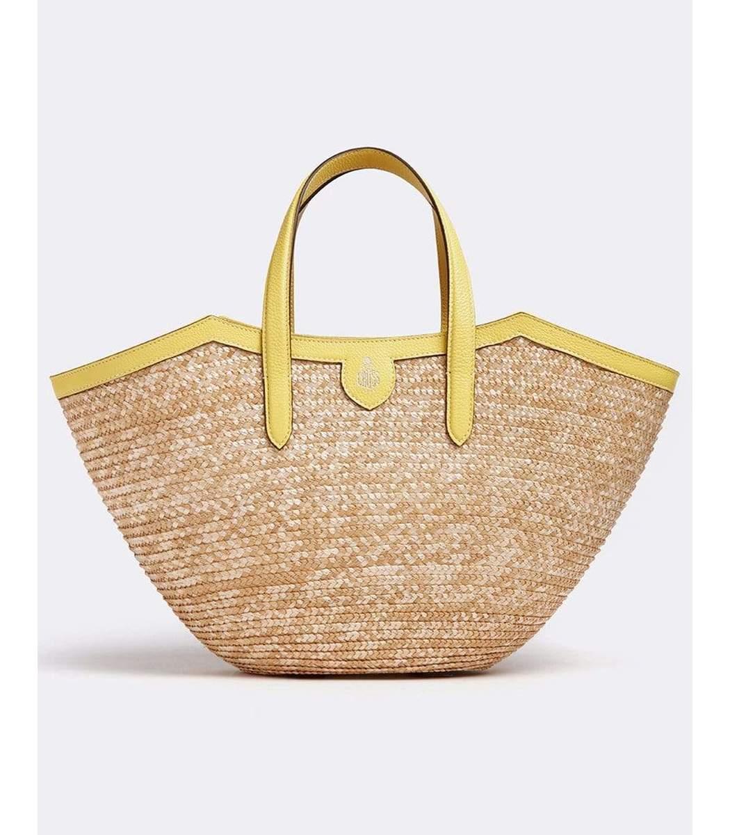 Mark Cross Madeline Straw and Leather Basket Bag
