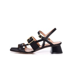 satin sandal in black
