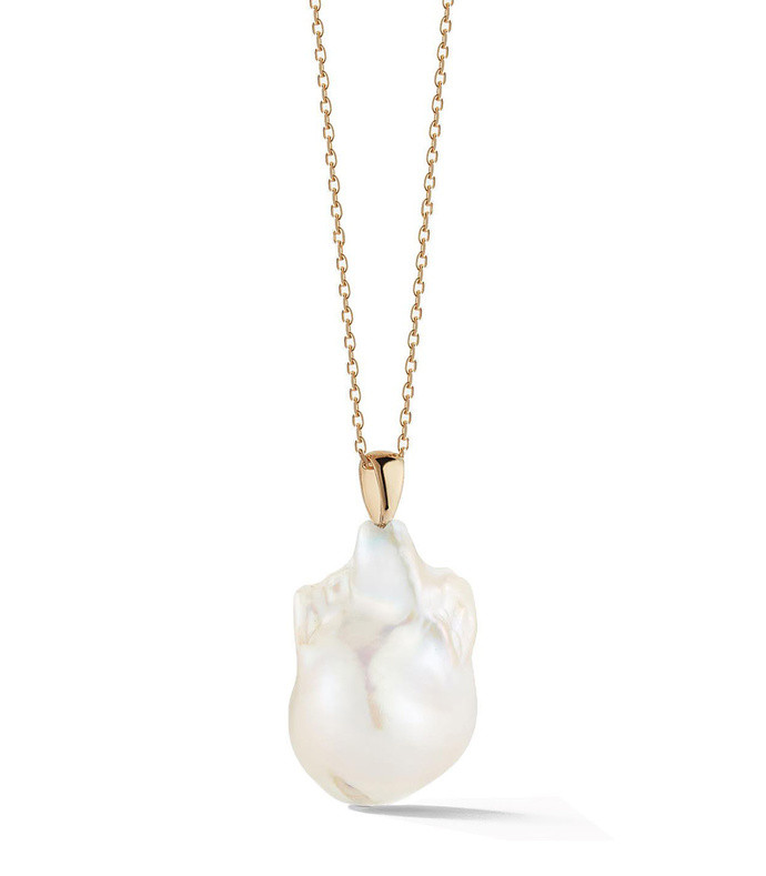 14kt gold baroque pearl necklace