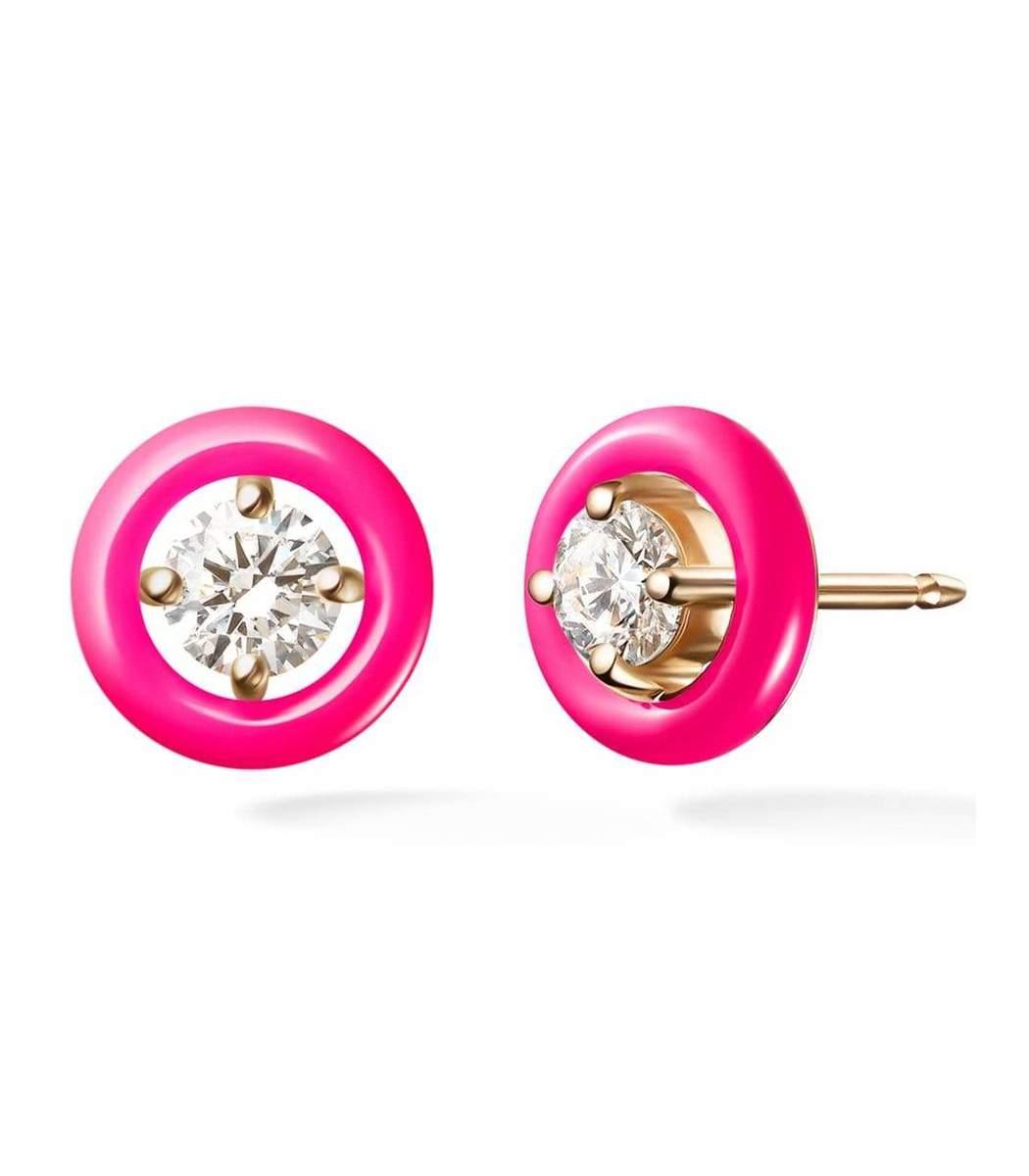 Melissa Kaye Accessories Neon Pink Enamel Sylvie Studs