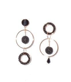 mika mismatched crystal earring in black/gold