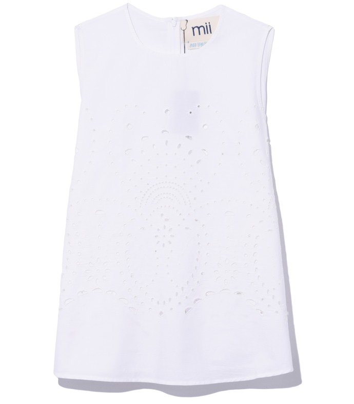 meteo sleeveless embroidered top in white