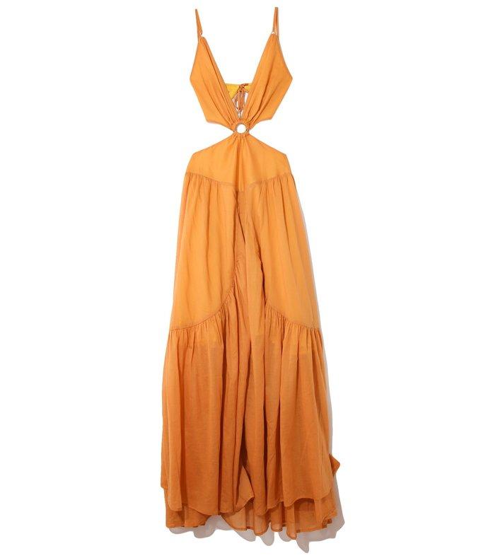 athena dress in cumin