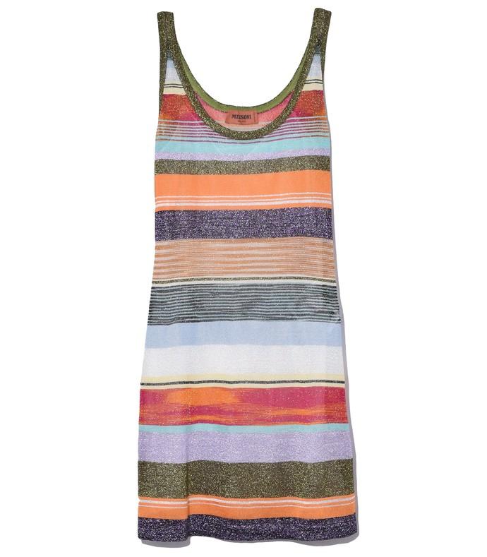sleeveless dress in rainbow multi
