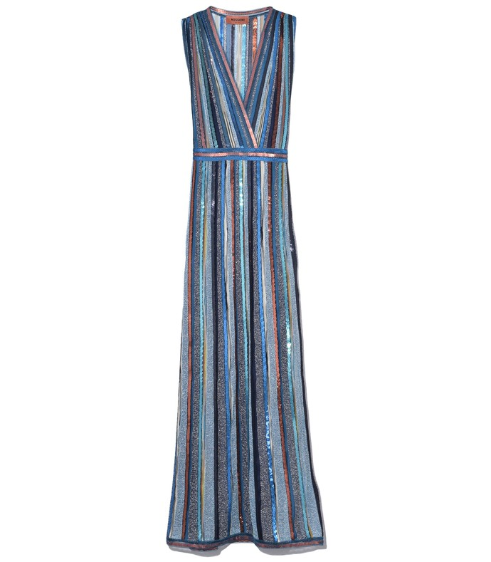 sleeveless long dress in blue multi