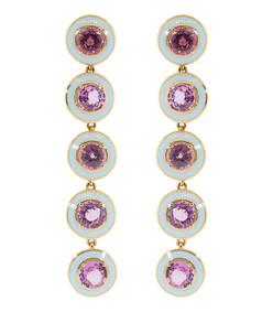 pink sapphire and blue enamel drop earrings