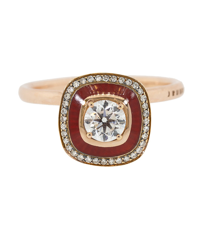 large square diamond and burgundy enamel ring