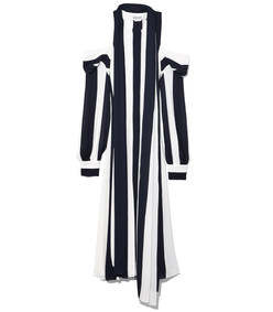 navy/white cold shoulder stripe caftan