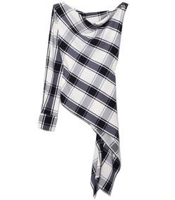black/white plaid one sleeve georgette blouse