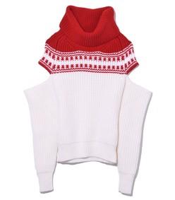 red/ivory slashed sleeve fair isle sweater