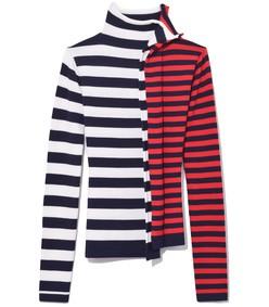 white/red/navy striped half & half turtleneck sweater