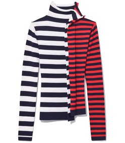 white/red/navy striped half & half turtleneck sweater