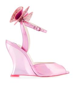 pink glitter bow wedge