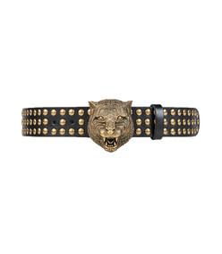 black/gold studded tiger head belt
