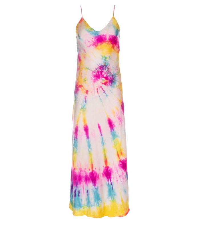 neon swirl long tie dye dress