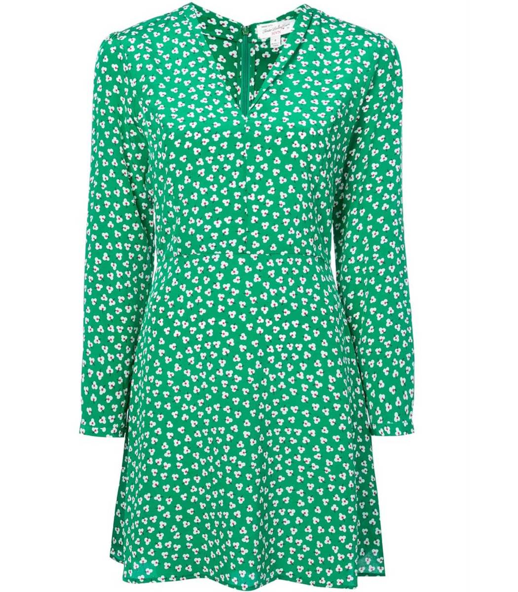 HARLEY VIERA-NEWTON Green And White Long Sleeve Floral Mini Dress
