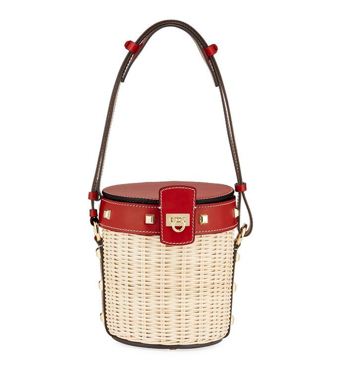 gancini wicker bucket bag
