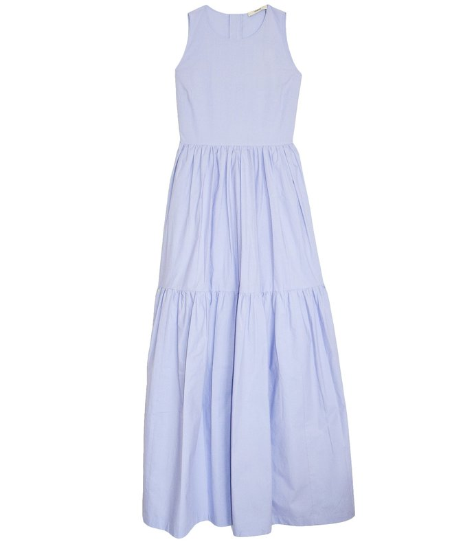 sleeveless tiered dress in pastel violet
