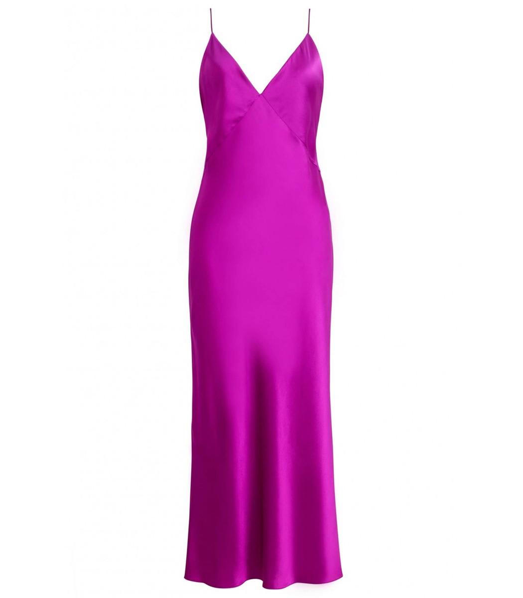 Olivia von Halle Issa Slip Dress - Magenta Silk Dress