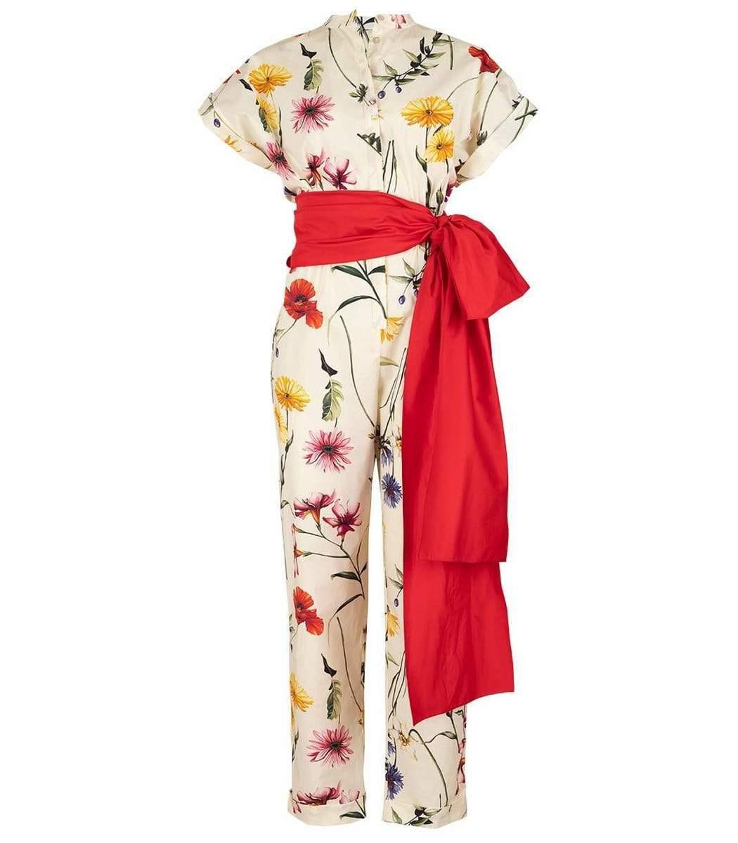 Oscar De La Renta Ecru Floral Print Belted Jumpsuit