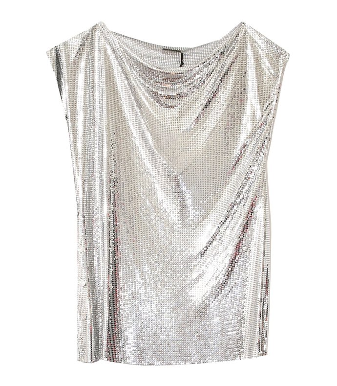 drape mesh sleeveless top in silver