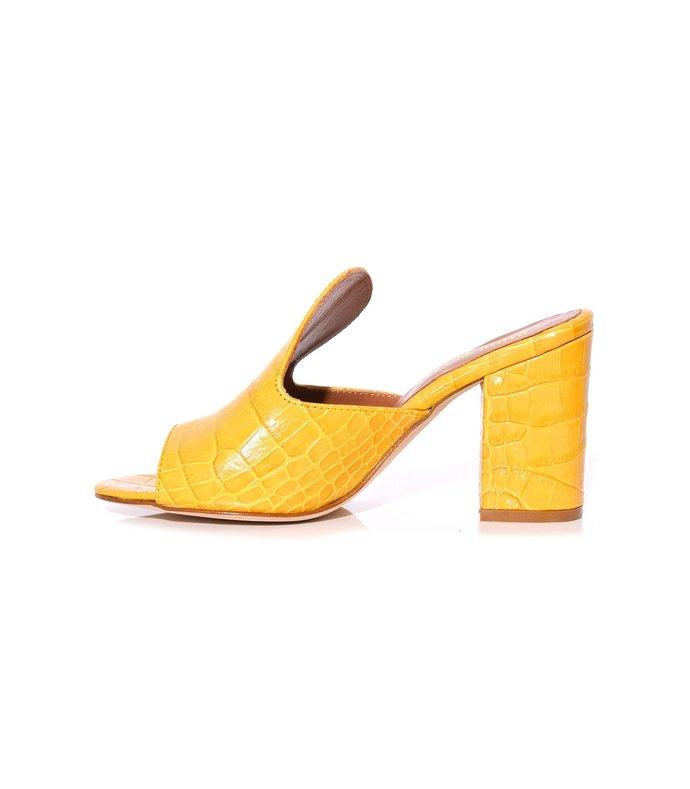 moc croco mules in yellow