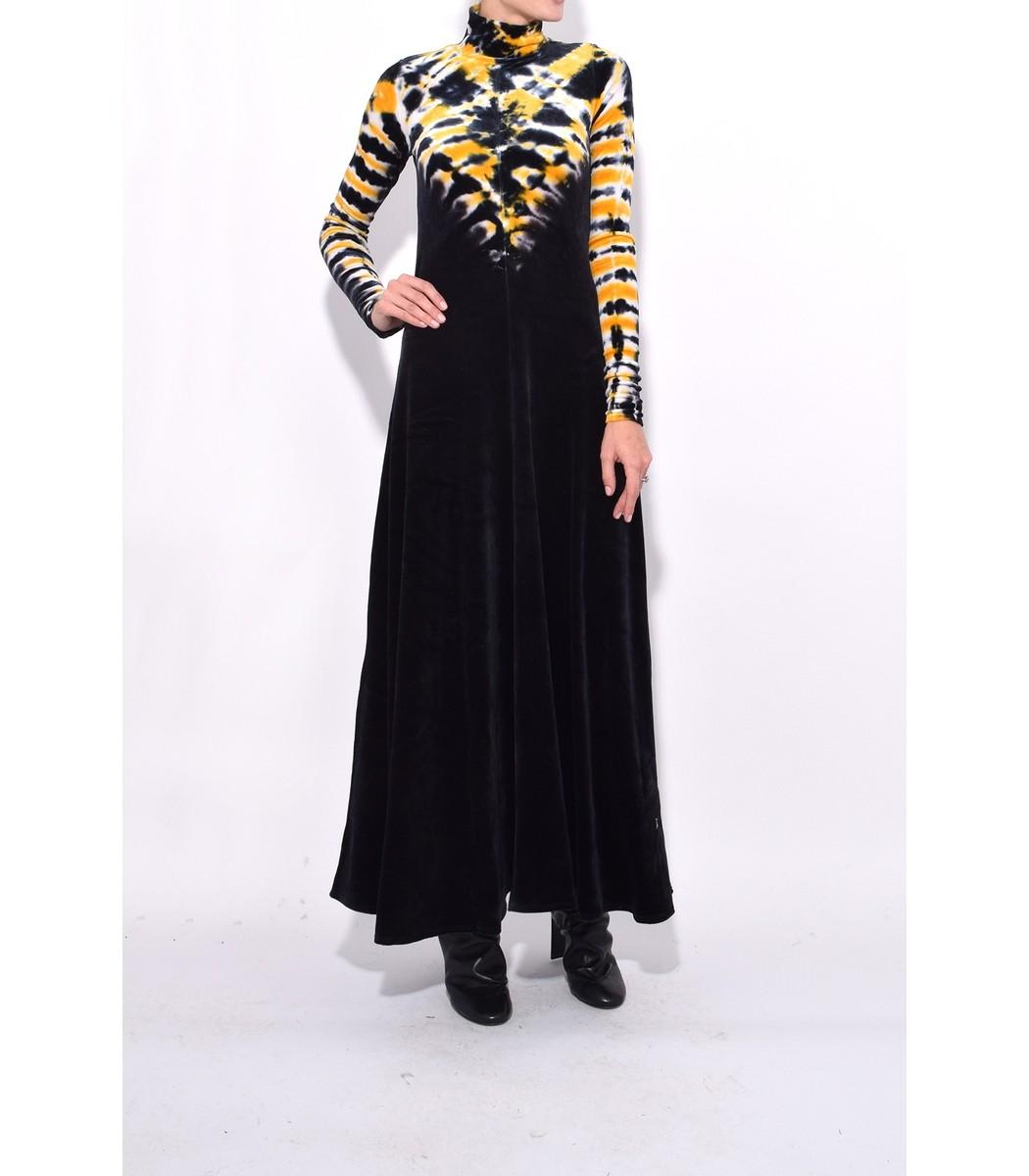 Proenza Schouler Long Sleeve Turtleneck Dress - Yellow/Black Viscose ...