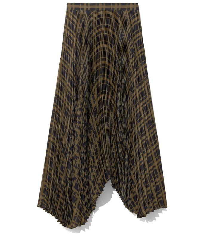 mid length pleated skirt in dark olive/black plaid