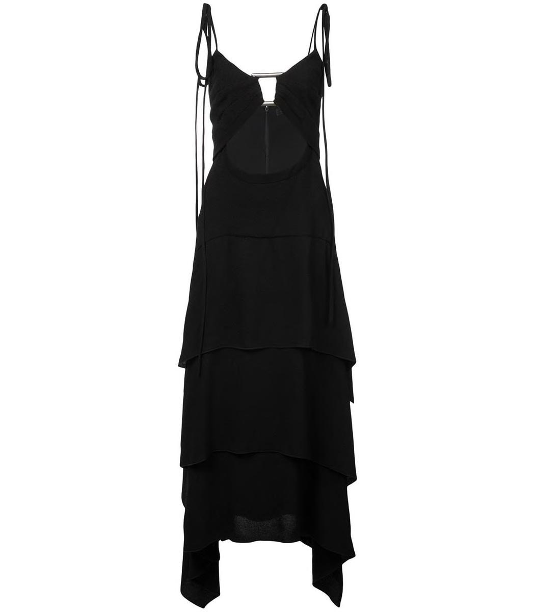 Proenza Schouler Black Layered Midi Dress