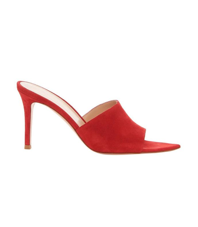red point-toe 85 suede mules