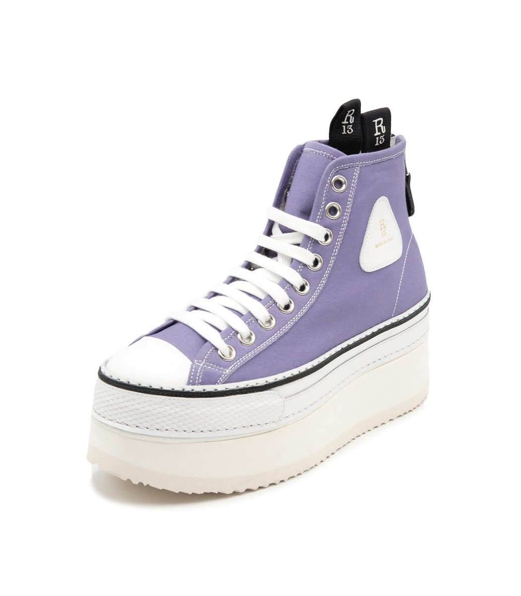 R13 Canvases Platform High Top Sneaker in Lilac