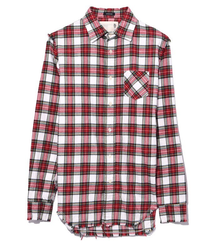 ecru/red plaid shredded seam shirt