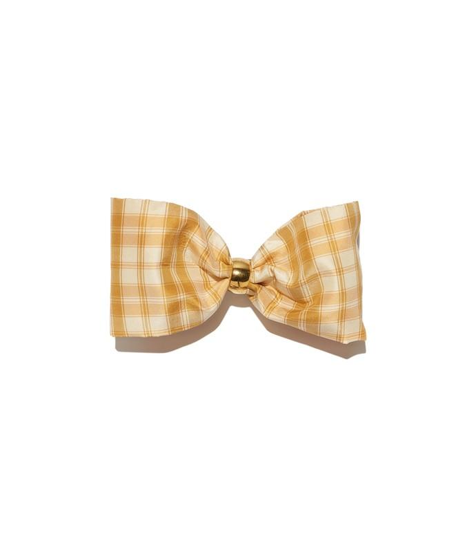 yellow pale tartan bow
