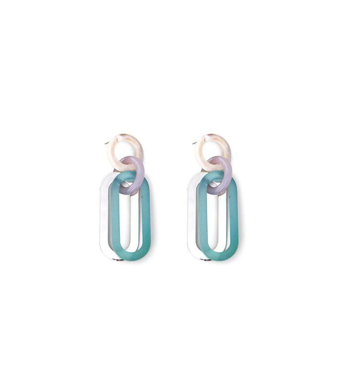 sour earrings in clear mint multi
