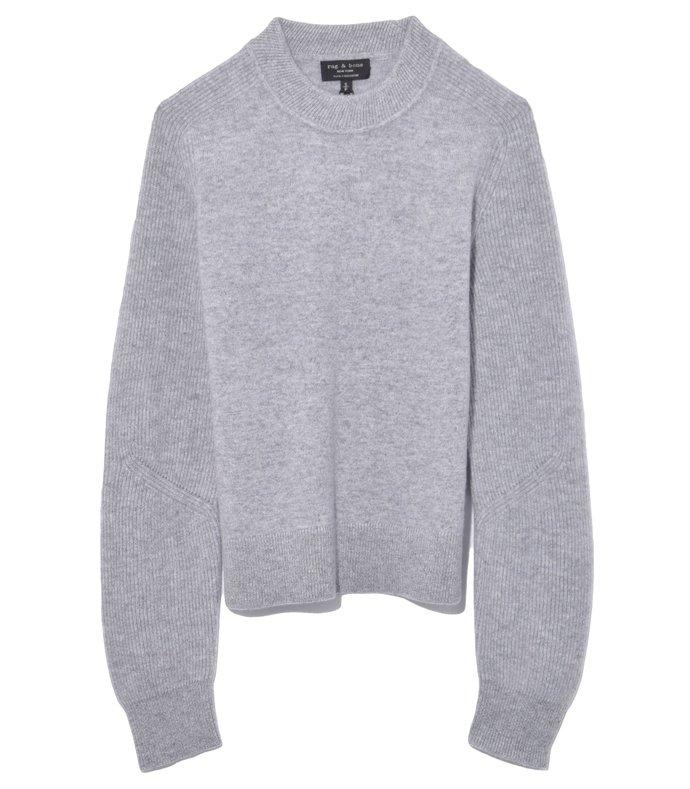 logan cashmere crew in heather grey