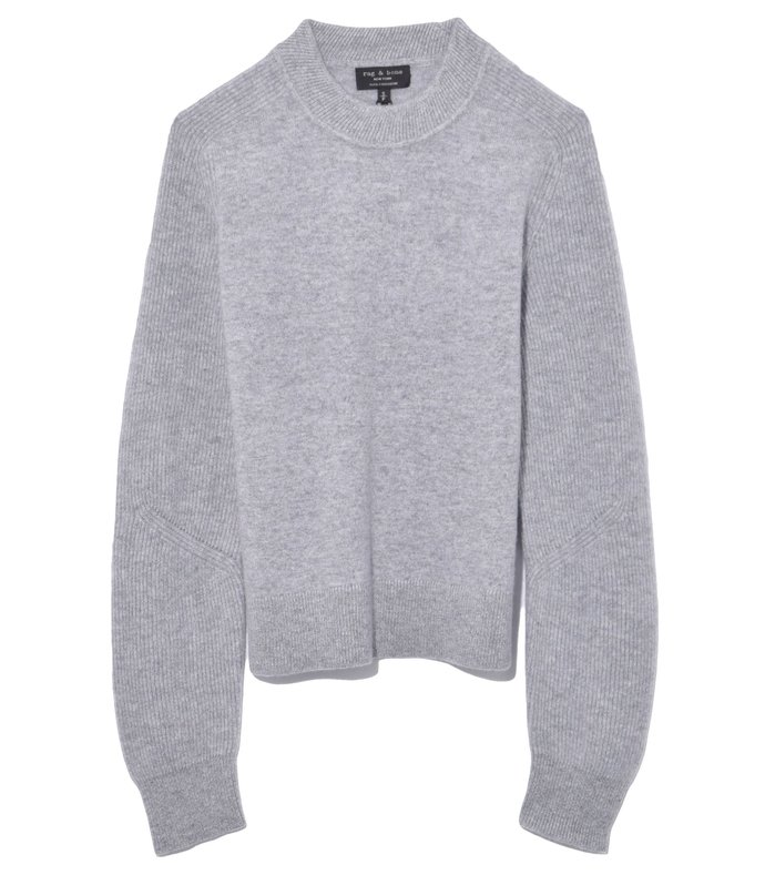 logan cashmere crew in heather grey